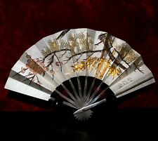 Sterling Silver Japanese Fan With Exceptional Details,Rose Gold Embellishment