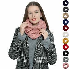 Runder Winter Damen Schal Schlauchschal Strickschal Wollschal warm und weich
