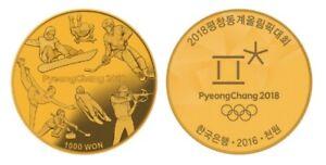 Korea PyeongChang 2018 Olympic Winter Commemorative Coin (1st) 1000 Won Proof