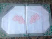 Vintage MIB Liddell Ireland 2 x Pillow Cases Set Deluxe Pure Linen Embroidered