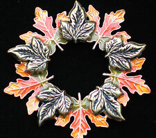 "FALL AUTUMN THANKSGIVING HARVEST LEAVES LEAF WREATH PIN BROOCH JEWELRY 2 1/4"" KC"