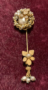 Vintage Miriam Haskell baroque pearl stick pin