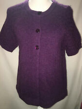 Sarah Spencer Lambs Wool Purple Short Sleeve Sweater  Size Large With 3 Buttons