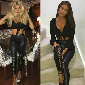Ladies Womens High Waisted Lace Up Front PVC Leather Wet Look Leggings Pants
