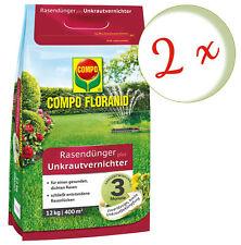 Sparset: 2 x COMPO Floranid® Rasendünger plus Unkrautvernichter, 12 kg
