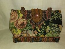 Vintage leather and beaded handcrafted tapestry purse.