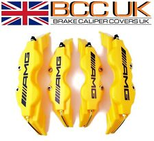 NEW BIG YELLOW Brake Caliper Covers DIY Kit Black AMG Logo Front Rear 4xL+M fits