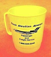 VINTAGE Reeve Aleutian Airways white plastic COFFEE cup from the '90's
