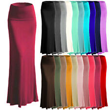 Women's A-line Full Length Rayon Span Maxi Skirt (Size:S-5X PLUS) Made in USA