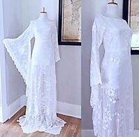 VTG White Art Deco Draped Sheer Lace BoHo Hippie Bell Sleeve Wedding Maxi DRESS