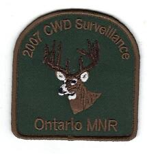 2007 ONTARIO MNR CWD DEER HUNTER PATCH-MICHIGAN DEER-BEAR-MOOSE-CREST