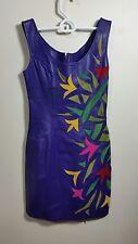 Vintage Ladies Purple Multicolor Genuine Leather Sleeveless Shift Dress Size M