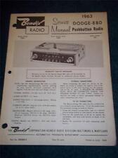 Bendix Service Manual~R3BD 1963 Dodge-880 Car Radio~MoPar 350