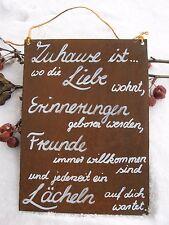 """Spruch - Edel-Rost - Tafel - Garten - Schild - """"Zuhause ist, wo die Liebe..."""""""