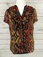 East 5th Top Womens Medium M V-Neck Button Short Sleeve Sheer Dressy Blouse