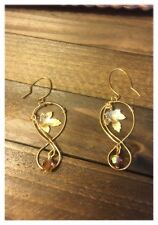 Handmade Infinity Curved Ear Wire with Gold-Plated/ Leaf Charm/ Crystal