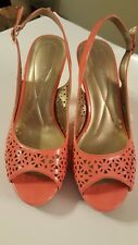 Andrew Geller Carmine Coral Patent Womens Laser Cut Slingback Heels Shoes SZ10M