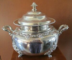 ANTIQUE ORNATE FORBES SILVER PLATE FOOTED TUREEN