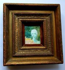 VINTAGE ORIGINAL OIL PAINTING SIGNED VICTOR WOOD FRAME W VELVET 8.5 BY 9 INCHES