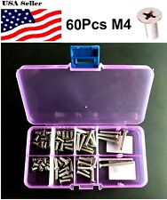 M4 Phillips screw kit Stainless Steel Flat Head bolt Cross assorted 60 Pcs