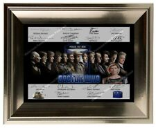 More details for framed a4 doctor who autographed photo print memorabilia all 14 doctors signed