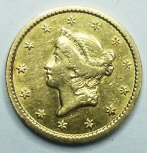 1849 $1 Type 1 Gold Dollar Cleaned