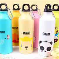 2020 Aluminum 500ML Water Bottle Candy Color Cute Cartoons Outdoor Travel Sports