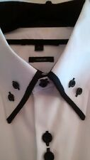 "NEW GEORGE Mens White Shirt with Black trim, 17"" L/XL,Formal, Smart, Button Cuff"