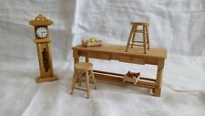 1/12th Scale Dolls House Kitchen Prep Table Stools Clock
