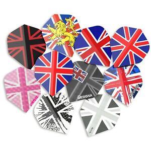 30 Standard Union Jack Dart Flights Mixed Job lot Assorted Colours 10 Sets