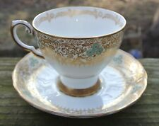 Vintage Tuscan English Bone China Tea Cup and Saucer White Gold Gilt Turquoise