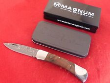 "Boker Magnum Damascus new in box lockback 5"" closed burl wood knife 790DAM"