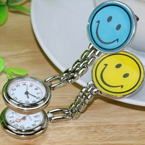 Stainless Steel SMILEY Nurse Watch Silver Fob Pocket Brooch + FREE 2 BATTERIES