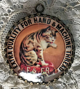 CAT LABEL Glass Dome PENDANT NECKLACE Vintage Thread Spool Advertising Card