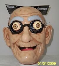 FUNNY OLD MAN PAPPY GRANDPA CRAZY EYES WRINKLED FACE MASK COSTUME MR131432