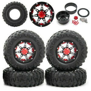 """4Pcs 2.2"""" Metal Beadlock Wheel Rims / Tires For Wraith D90 1/10 RC Crawler Car"""