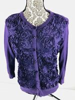New York & Company Long Sleeve With Ruffles Button Up Top/Blouse Size Large