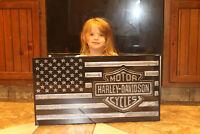 Harley Davidson wood flag 27x14. Top coat of epoxy, Inlaid with aluminum epoxy.