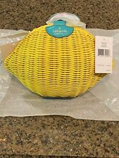 Kate Spade Lemon Crossbody Bag Purse Wicker Picnic Yellow