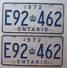 Ontario 1972 License Plate PAIR # E92-462