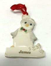 """Lenox Merrily Yours Personalized Ornament China Penguin """"James"""""""