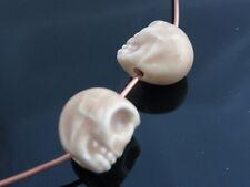 4 x 3D Porcelain Ceramic Skull Beads 13mm x 11mm Cream Halloween Skulls Gothic