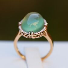 Gorgeous Natural AAAAA 9.1cts Prehnite W/0.152ct diamond 18K Ring 25cts KG22R