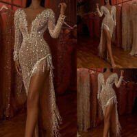 Womens Tassel V Neck Sequin Maxi Dress Ladies Evening Party Cocktail Dance Gown