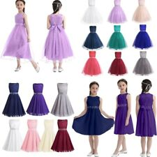 Flower Girls Princess Dress Party Wedding Bridesmaid Pageant Formal Sequins Gown