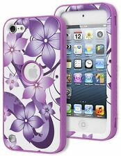 iPod Touch 5th 6th Gen - HARD&SOFT RUBBER HYBRID ARMOR CASE PURPLE WHITE FLOWERS