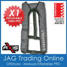 AXIS GREY OFFSHORE INFLATABLE PFD1 LIFEJACKET 150N Manual Life Jacket/Vest/Boat