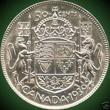 1939 Canada Silver 50 Cent Piece (11.66 grams .800 Silver)