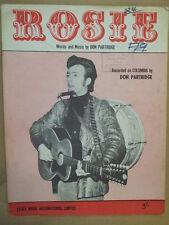 song sheet ROSIE , Don Partridge 1967