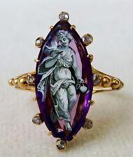 ANTIQUE GEORGIAN ENAMELED LADY w/DOVE AMETHYST & ROSE CUT DIAMONDS 18K GOLD RING